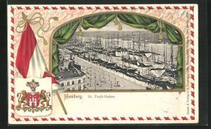 Präge-Passepartout-Lithographie Hamburg-St. Pauli, Hafen, Wappen und Flagge