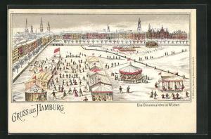 Winter-Lithographie Hamburg-Neustadt, Die Binnenalster im Winter