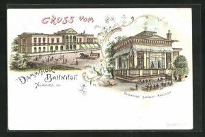 Lithographie Hamburg-Rotherbaum, Dammtor Bahnhof, Pavillon