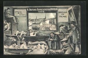 Künstler-AK Hamburg-Neustadt, 16. Deutsches Bundesschiessen Hamburg 1909, Jungfernstieg, Nachtlogis für Fremde