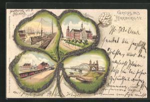 Glitzer-Passepartout-Lithographie Hamburg-Harburg, Kleeblatt mit Rathaus, Hafen und Neuer Elbbrücke