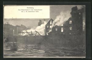 AK Hamburg-St. Pauli, Das Riesenfeuer in der Hafenstrasse 1900