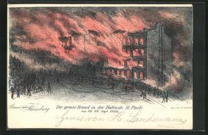 Künstler-AK Hamburg-St. Pauli, Der grosse Brand in der Hafenstrasse St. Pauli 1900