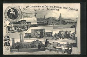 AK Hamburg-St.Georg, Zur Erinnerung an die Eröffnung des neuen Haupt-Bahnhofes 1906, Damm-Bhf., Berliner-Bhf.