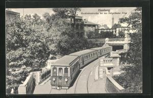 AK Hamburg-Neustadt, Hochbahnstrecke bei der Helgoländer Allee