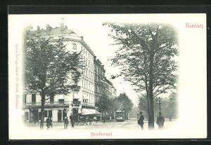 AK Hamburg-St.Georg, Steintorwall mit Strassenbahn