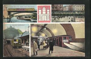 AK Hamburg-St.Georg, Hoch- und Untergrundbahn, Hauptbahnhof, Bahnhof Berlinertor, Leinpfad über die Alster
