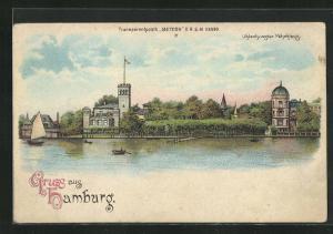 Lithographie Hamburg-Uhlenhorst, Uhlenhorster Fährhaus, Halt gegen das Licht