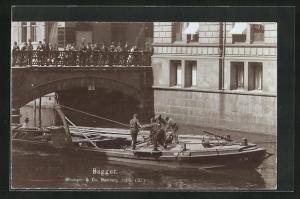 AK Hamburg, Baggerschiff bei der Arbeit, Fotoverlag Strumper & Co.