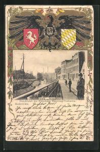 Präge-Passepartout-Lithographie Hamburg-Harburg, Durchfahrt der Eisenbahn Hamburg-Cuxhaven, Adler und Wappen