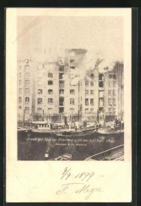 AK Hamburg, Brand der Speicher Neueburg 1899, Neue Burg-Strasse 9-10