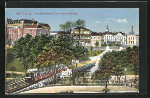 AK Hamburg-St. Pauli, Hochbahnstrecke mit Seemannshaus