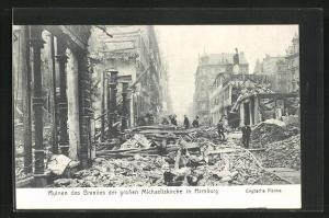 AK Hamburg-Neustadt, Ruinen des Brandes der grossen Michaeliskirche , Englische Planke