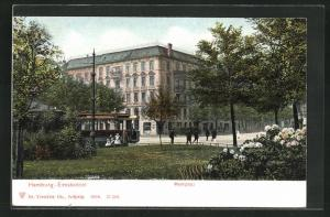 AK Hamburg-Eimsbüttel, Marktplatz mit Strassenbahn