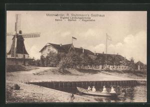 AK Hamburg, Gasthaus Moorwärder, Windmühle