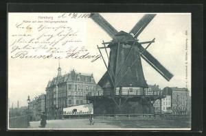 AK Hamburg-St. Pauli, Windmühle auf dem Heiligengeistfelde
