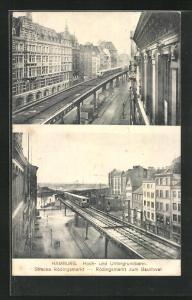 AK Hamburg, Hoch- und Untergrundbahn Strecke Rödingsmarkt zum Baumwall