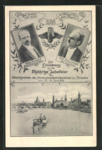 AK Dresden, 25 jähr. Jubelfeier des Gesangvereines der Staatseisenbahnbeamten 1914