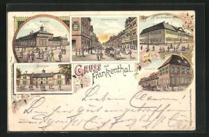 Lithographie Frankenthal, Bahnhof, Landgericht, Gymnasium, Turnhalle
