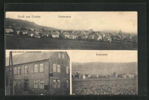 AK Unnau, Herkersdorfs Gasthaus, Totalansicht vom Ort