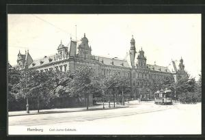 AK Hamburg-Neustadt, Civil-Justiz-Gebäude, Strassenbahn