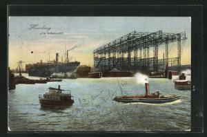 AK Hamburg, Die Vulkanwerft, Dampfboote