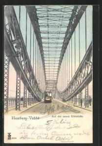 AK Hamburg-Veddel, Strassenbahn auf der neuen Elbbrücke