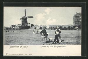 AK Hamburg-St. Pauli, Mühle auf dem Heiligengeistfeld