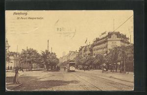 AK Hamburg-St. Pauli, Reeperbahn mit Strassenbahn