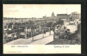 AK Hamburg-St. Pauli, Hafen mit Strassenbahn, Landungsbrücke