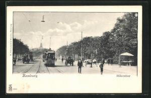 AK Hamburg-St. Pauli, Millerntor mit Strassenbahn