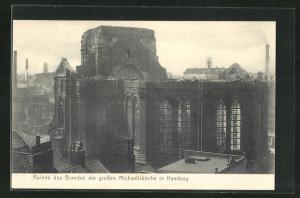 AK Hamburg-Neustadt, Ruinen des Brandes der grossen Michaeliskirche