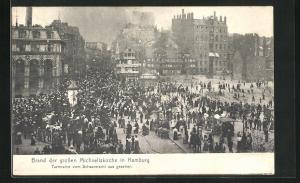 AK Hamburg-Neustadt, Brand der grossen Michaeliskirche
