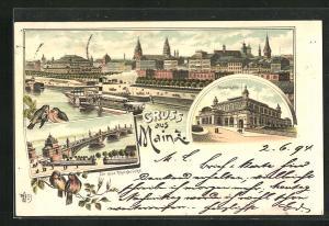 Vorläufer-Lithographie Mainz, 1894, Die neue Rheinbrücke, Stadthalle, Teilansicht mit Dampfer