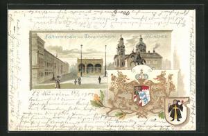Präge-Passepartout-Lithographie München, Feldherrenhalle mit Theatinerkirche, Wappen