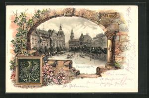 Präge-Passepartout-Lithographie Frankfurt a / M., Rossmarkt, Wappen