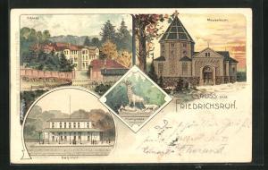 Lithographie Friedrichsruh, Mausoleum, Schloss, Bahnhof