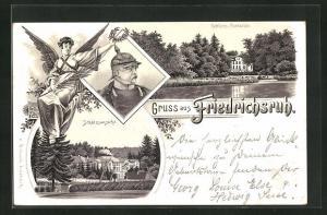 Lithographie Friedrichsruh, Portrait Bismarck, Schloss Parkseite, Schlossansicht