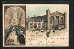 Lithographie Berlin, Stettiner Bahnhof, Invalidenstrasse, Innenansicht