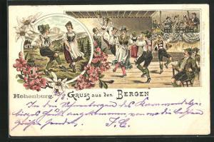 Lithographie Gruss aus den Bergen, Tanz in bayerischen Trachten