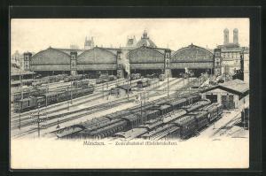 AK München, Zentralbahnhof, Einfahrtshallen