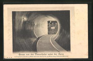 AK Berlin-Friedrichshain-Stralau, Tunnelbahn unter der Spree