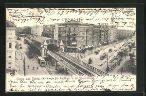 AK Berlin-Kreuzberg, Die Hochbahn in der Wienerstrasse