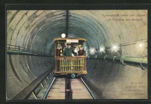 AK Berlin-Treptow, Tunnelbahn unter der Spree