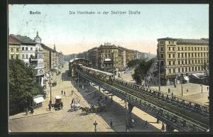 AK Berlin-Kreuzberg, Die Hochbahn an der Skalitzer Strasse, Görlitzer Bahnhof