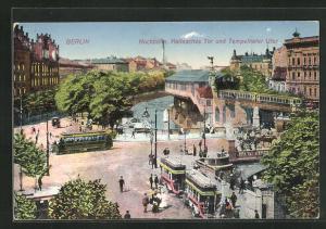 AK Berlin-Kreuzberg, Hochbahn Hallesches Tor und Tempelhofer Ufer