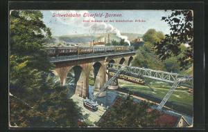 AK Elberfeld-Barmen, Schwebebahn, Drei Bahnen an der Sonnborner Brücke