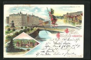 Lithographie Elberfeld, Neue Fuhrstrasse mit Schwebebahn, Alte Fuhr vor 1890, Burg Elverfeldt