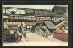 AK Elberfeld, Alexanderbrücke mit Schwebebahn