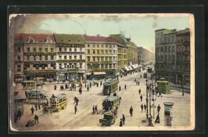 AK Berlin-Kreuzberg, Moritzplatz mit Strassenbahn